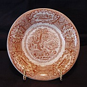 "SALE Attractive English Red / Pink Transferware Dish ~ ""Oriental Pattern""  ~ George Jones"