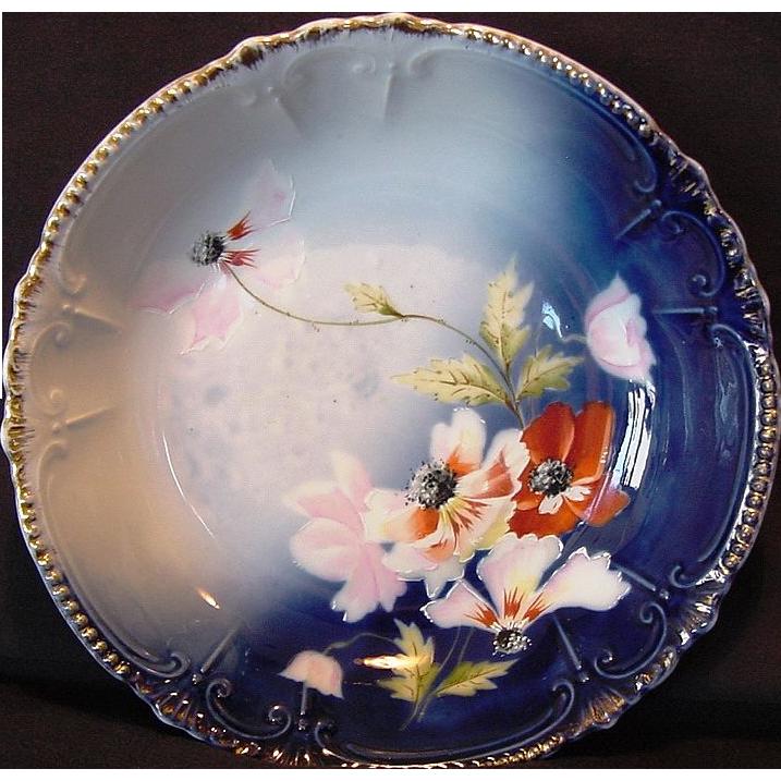 Beautiful Bavarian  Bowl hand Painted with White and Orange Poppies ~ Royal Bavaria China 1890-1930