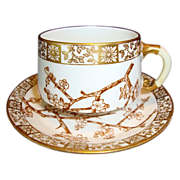 SALE Attractive 127 Yr Old English Porcelain Cup & Saucer ~ Thorn pattern ~ Edwin James Drew B