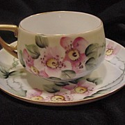 Dainty ~German Porcelain Cup & Saucer ~ Hand Painted with Wild Pink Roses ~ KPM  Krister Porcelain Manufacturing  1904-1927
