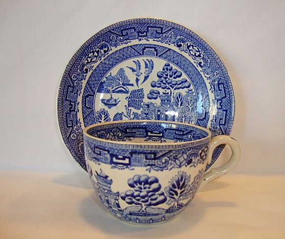 Nice English Earthenware Cup and Saucer Set ~ Blue Willow Pattern ~ Ridgways England 1900's