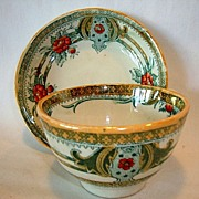 Colorful Polychrome Earthenware Cup, Saucer ~ Pattern: Bell by PETRUS REGOUT & CO Maastricht Holland 1930-1950