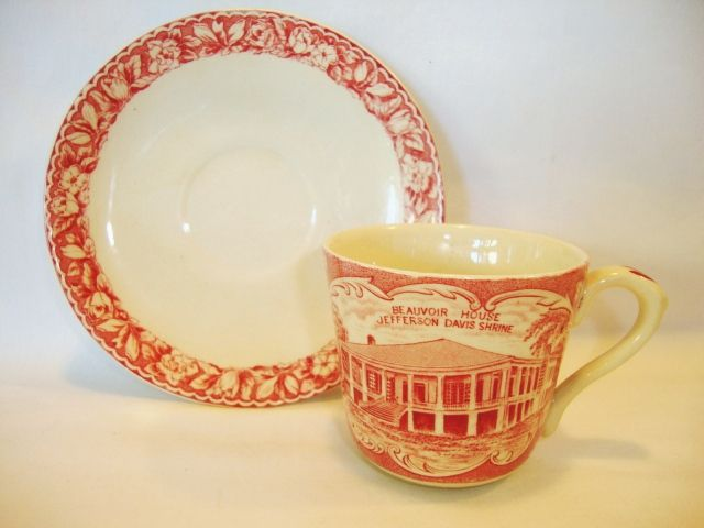 Commemorate Old English Staffordshire Ware ~Red Transferware Cup with the Jefferson Davis Shrine & Great Seal of the Confederate States ~ William Adams England / Jonroth  Early 1900's