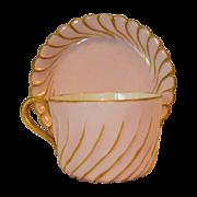 Delicate Limoges Porcelain Cup and Saucer ~ Hand Painted Pink & Gold ~Torse or Cannele Mold #143 ~ Haviland & Co Limoges France 1888-1896