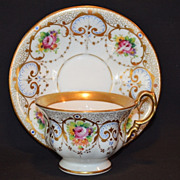 Gorgeous Cup and Saucer ~ Hand Painted Gold and Floral Transfers ~German Porcelain ~  C. TIELSCH & Co.  (Germany) - ca 1875 - 1930s