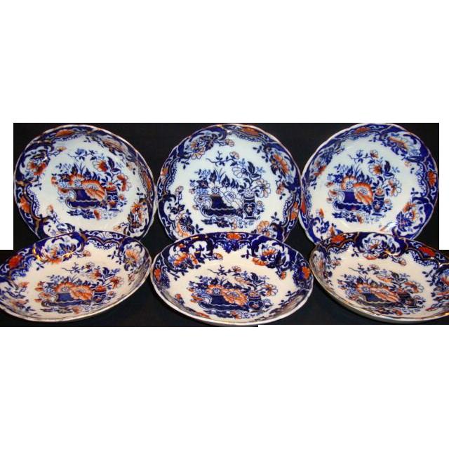 6 ~Brightly Imari / Gaudy Welsh Colored English Bowls ~ England 1895