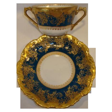 Exquisite Bouillon Cup & Saucer ~  Limoges Porcelain ~ Double Handled  ~Teal & Gold Embellished ~ Coiffe Limoges France 1876 -1890