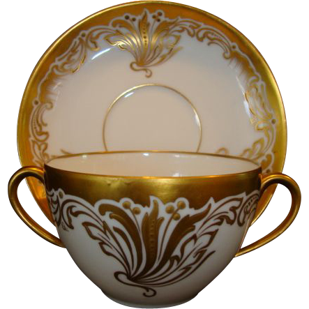 Fabulous Double Handled Limoges Teacup & Saucer ~ Pickard Hand Painted with Golden Designs ~ Martial Redon Limoges  / Pickard Studios Chicago IL 1905-1910