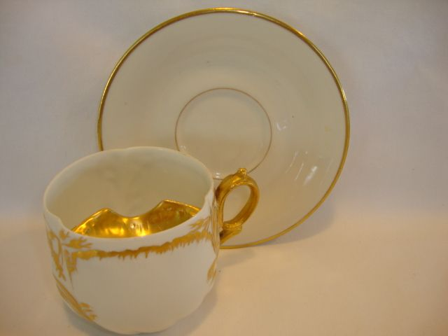 Fantastic Limoges Porcelain Mustache Cup with Saucer~ White with Gold Accents ~ Martial Rendon / Limoges France 1882-1890