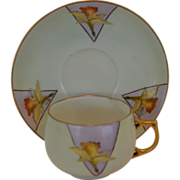 Wonderful Limoges Porcelain Cup and Saucer with Hand Painted Yellow Daffodils – J& C Bavaria / George H Bowman Co Cleveland OH 1890-1940