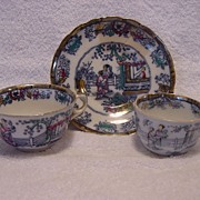 "Nice English Polychrome Chinoiserie 2 Cups & 1 Free Saucer ~  ""Chinese Ching"" Pattern ~ William Adams Staffordshire England 1895-1912"