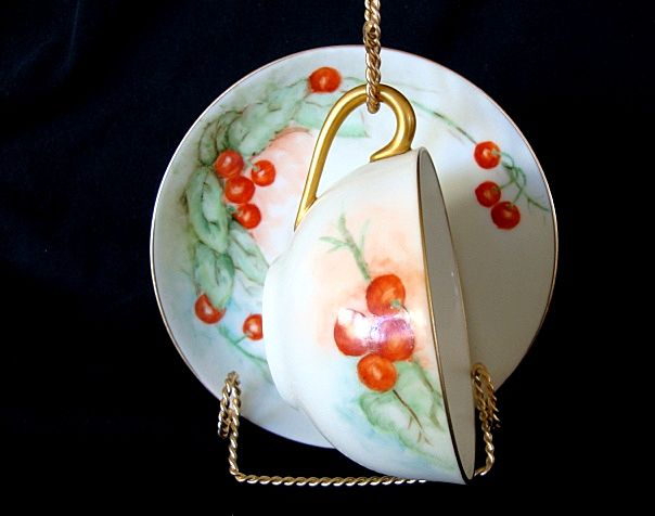 Beautiful Nippon Porcelain Cup & Saucer ~ Hand Painted with Ripe Cherries ~ Noritake Nippon 1890-1921