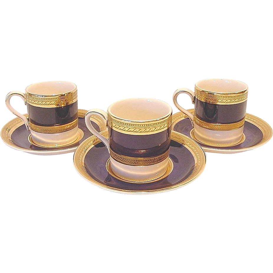 """(3) Sets of English """"Crown Ducal Admiral-Blue"""" Demitasse Cups and Saucers ~ Cobalt Blue and Gold Encrusted ~ A G Richardson & Co Ltd England 1925-1960"""