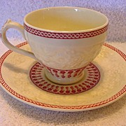 SALE Great English Demitasse Cup and Saucer ~ Red Transfer~ George Jones and Sons England 1920