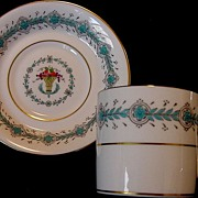 "Nice English Demitasse Cup & Saucer ~ ""Queen Elizabeth"" Pattern ~ Turquoise & Ivory ~ COALPORT PORCELAIN WORKS (Shropshire, UK) - ca 1940's"