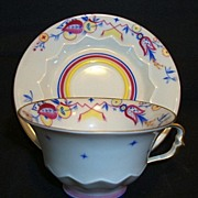 Beautiful Bavarian  Porcelain Demitasse Cup and Saucer ~ Hand Painted with Colorful Designs ~ Kronach ~ Rosenthal Bavaria 1896-1907