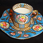 Great Miniature Porcelain Cup and Saucer ~ Hand Painted with Flowers and Gold ~ Hokutosha Made in Occupied Japan 1945+
