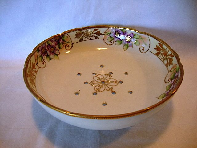 Wonderful Hand Painted Nippon Berry Strainer / Drainer Decorated with Purple & White Flowers and Gold Moriage ~ Morimura Brothers 1911-1921
