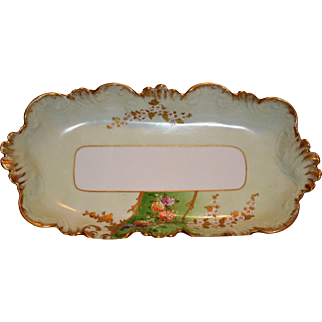 SALE Exquisite  Ice Cream / Sandwich Dish ~ Limoges Porcelain ~ Hand Painted with Flowers and Gold Paste ~ Lavilette Limoges France1896-1905  Lazeyras Rosenfeld & Lehman Limoges France LR&L 1920's