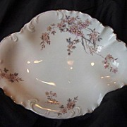 Beautifully Shaped Rosenthal Dish ~ Dainty Pink with Yellow Flowers – Bavaria -1896-1907