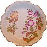 SALE EXQUISITE English Porcelain Bisque / Matte Dish ~ Hand Painted with Magenta and Golden Fl