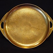 "Awesome Pickard Studio Decorated Two Handled Tray 8 3/8"" ~ ALL OVER GOLD!!!"