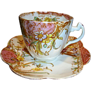Outstanding English Pre Shelley Porcelain ~ Cup, Saucer~ Mauve Aesthetic Pattern ~ Wileman & C
