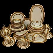 SALE Elegant and Impressive Gold Encrusted / Embossed Bavarian 35 Piece Porcelain Dinner Set f