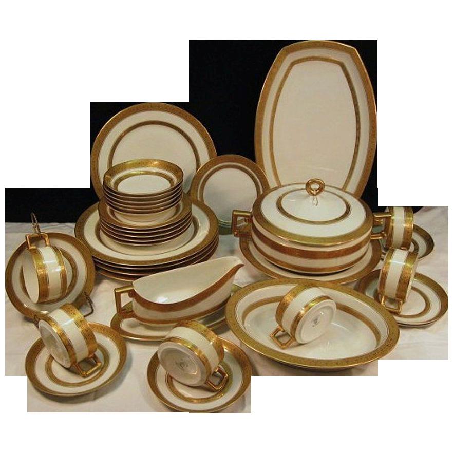Elegant and Impressive Gold Encrusted / Embossed Bavarian 35 Piece Porcelain Dinner Set for 6 ~ Imperial Style ~ Heinrich & Co Selb Bavaria 1930-1939