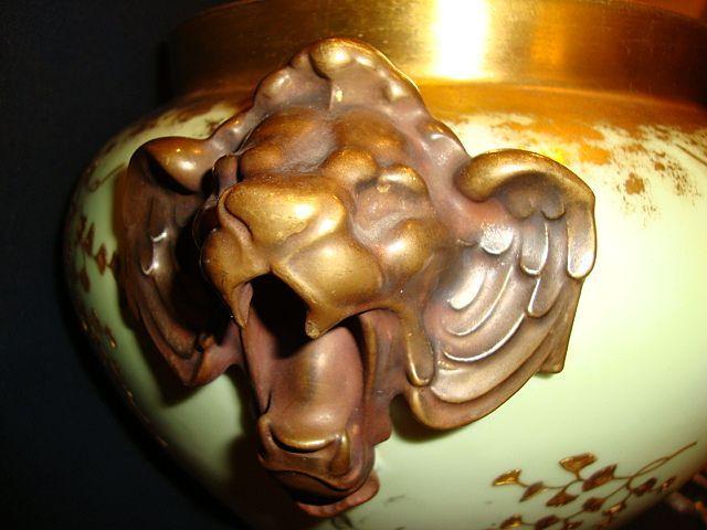Majestic and Rare Limoges Porcelain Jardinière ~ Lion handles ~ Gold Embossed Leaf Designs ~ D&C (Delinieres & Co.) France Limoges 1890-1900