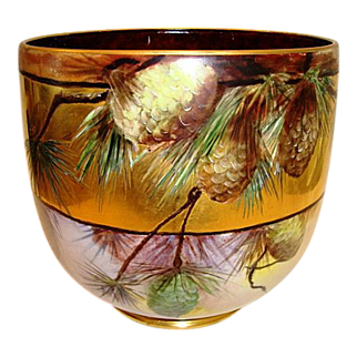 """SALE AMAZING Limoges Jardiniere~ Large 9"""" High and 31"""" Circumference. LOTS of GOLD! Hand Painted Pinecones ~ Signed Mary Bowen 1917 – William Guerin 1900-1932"""