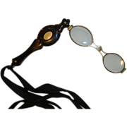 SALE Lorgnette with Tortoise shell Design 14K Cartouche, Flipout, Folding Magnifying Glasses ~