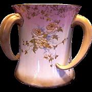 SALE RARE Doulton  3 Tusk Handled Loving Cup ~ Enamel Flowers ~Artist Initialed ~ Doulton Burs