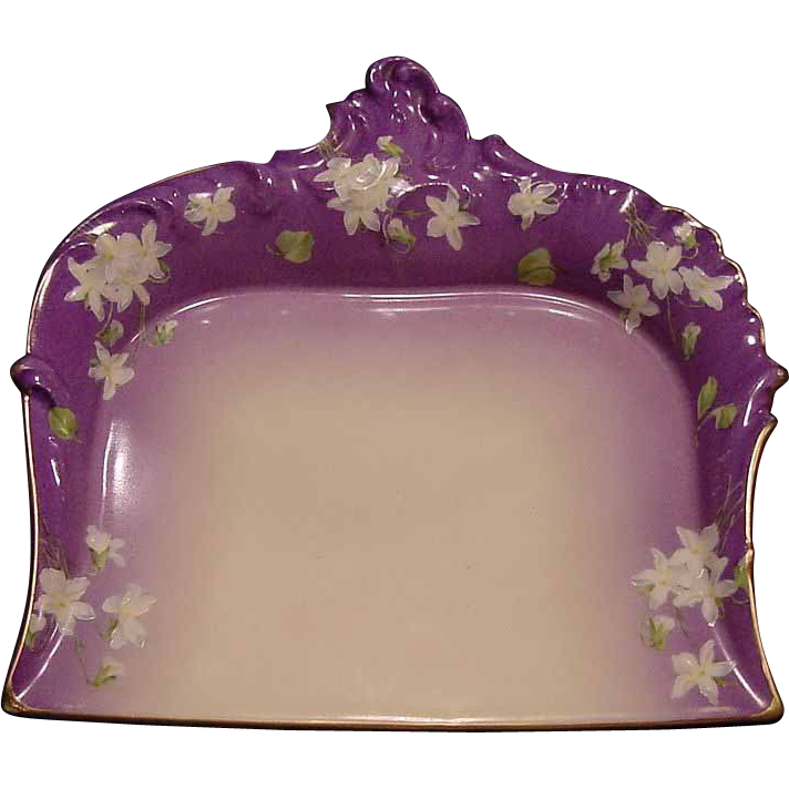 Rare Pitkin & Brooks Decorated ~ Limoges Porcelain Crumb Tray ~ Hand Painted with White Flowers ~ Tressemann & Vogt ( T & V )  1892-1907