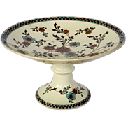 SALE Awesome English Earthenware Compote / Pedestal Plate ~ turquoise and Gold Flower ~ Patter