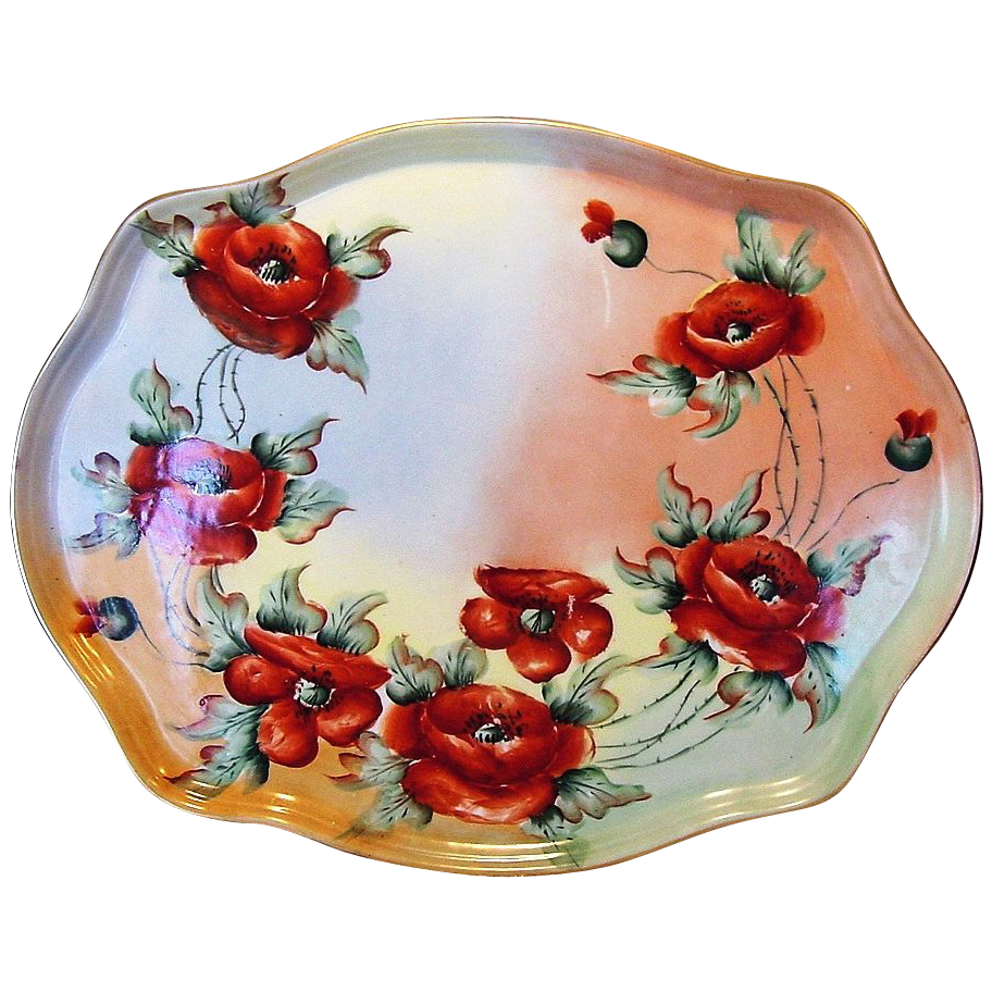 Unbelievable Large 16 1/2'' Limoges Porcelain Tray ~ Hand Painted with Orange Poppies ~ William Guerin ca.1900 -1919
