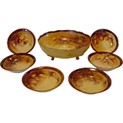 Handsome Austrian / Limoges Porcelain Master Nut Bowl Set with Six (6) Individual Dishes ~ Hand Painted with Various Nuts ~ Oscar & Edgar Gutherz  Royal Austria 1899-1918