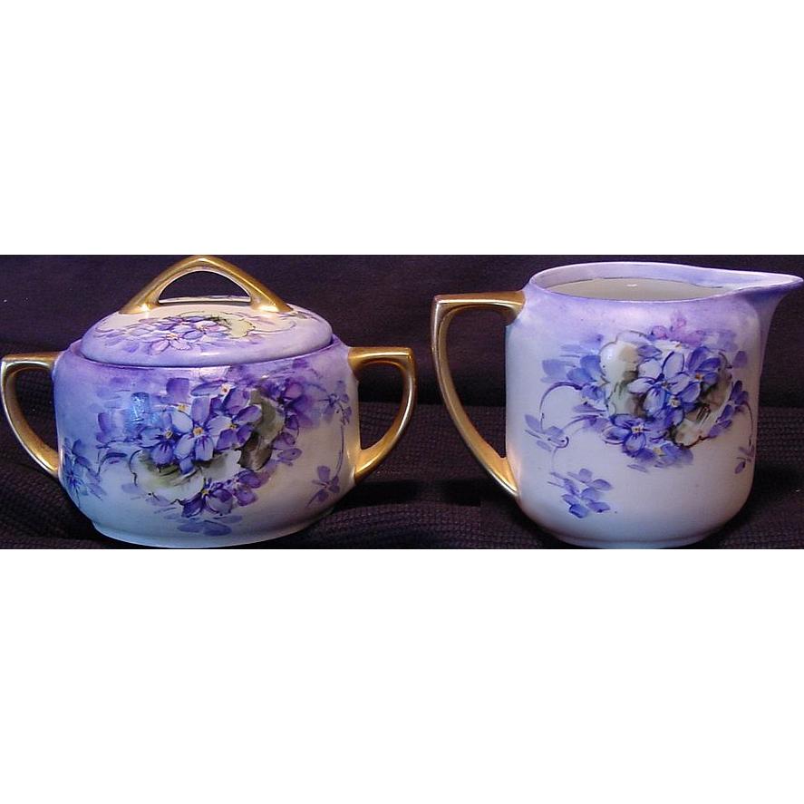 Gorgeous Austrian Sugar & Creamer Set ~ Hand Painted with Purple Violets ~ ALTROHLAU PORCELAIN FACTORIES - MORITZ ZDEKAUER 1884-1910