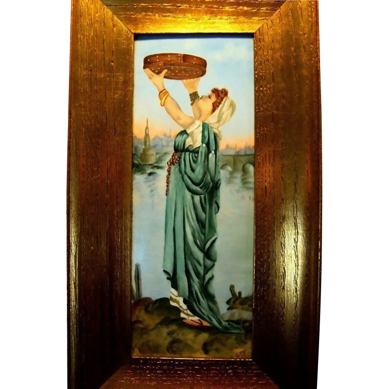 """Remarkable Limoges Porcelain Framed  Plaque 14''H x 7 1/2""""W ~ Hand Painted Beautiful Woman in flowing gowns ~ Artist Signed~ possibly RUTH Harvesting grain~Tressemann & Vogt  1892-1907"""