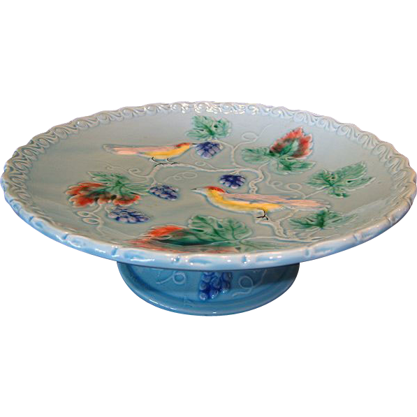Awesome German Majolica Pedestal Cake Plate ~ Turquoise with Birds and Grapes ~ Made in Western Germany  Highmount 1920's +