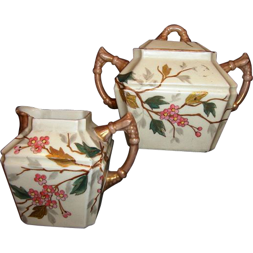 Beautiful German Porcelain Creamer & Sugar Set ~ Asian Oriental Design with Pink Cherry Blossoms ~ NEW YORK &   RUDOLSTADT POTTERY (Importers from Germany) - ca 1887 - ca 1918