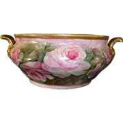 Fantastic German Porcelain 14'' Tableside Champagne Chiller ~ Hand Painted with Pink Roses ~ HUTSCHENREUTHER Germany 1920-1970
