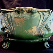 Fantastic Faience Ferner~ Green with Gold Sponge Accents ~ DF Haynes ~ Chesapeake Pottery Baltimore MD 1881-1941