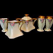 SALE Bavarian Porcelain Creamer, Sugar, Salt, Pepper and Toothpick Holder ~ Hand Painted with