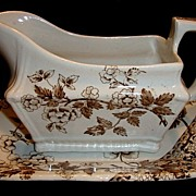 SALE Great Old English Gravy Boat & Under Plate ~ Earthenware Brown Aesthetic / Japonesque Tra