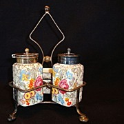 SALE Quaint Three Piece English Earthenware Condiment / Castor Set with Metal Caddy ~  Lancast