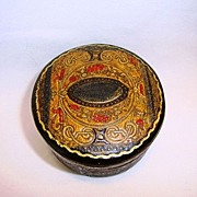 SALE Awesome Italian Leather Round Lidded Box ~ Silk Lined ~ Embossed Decorated ~ Made In Ital