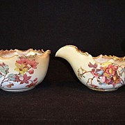 Beautiful Doulton Burslem Earthenware Sugar and Creamer ~ Floral decoration C2020 ~ England 1891-1902