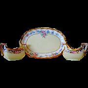 Beautiful Bavarian Porcelain Creamer & Sugar Set with Matching Limoges Tray ~ Pink Roses ~ Zeh Scherzer Bavaria AND  Limoges France
