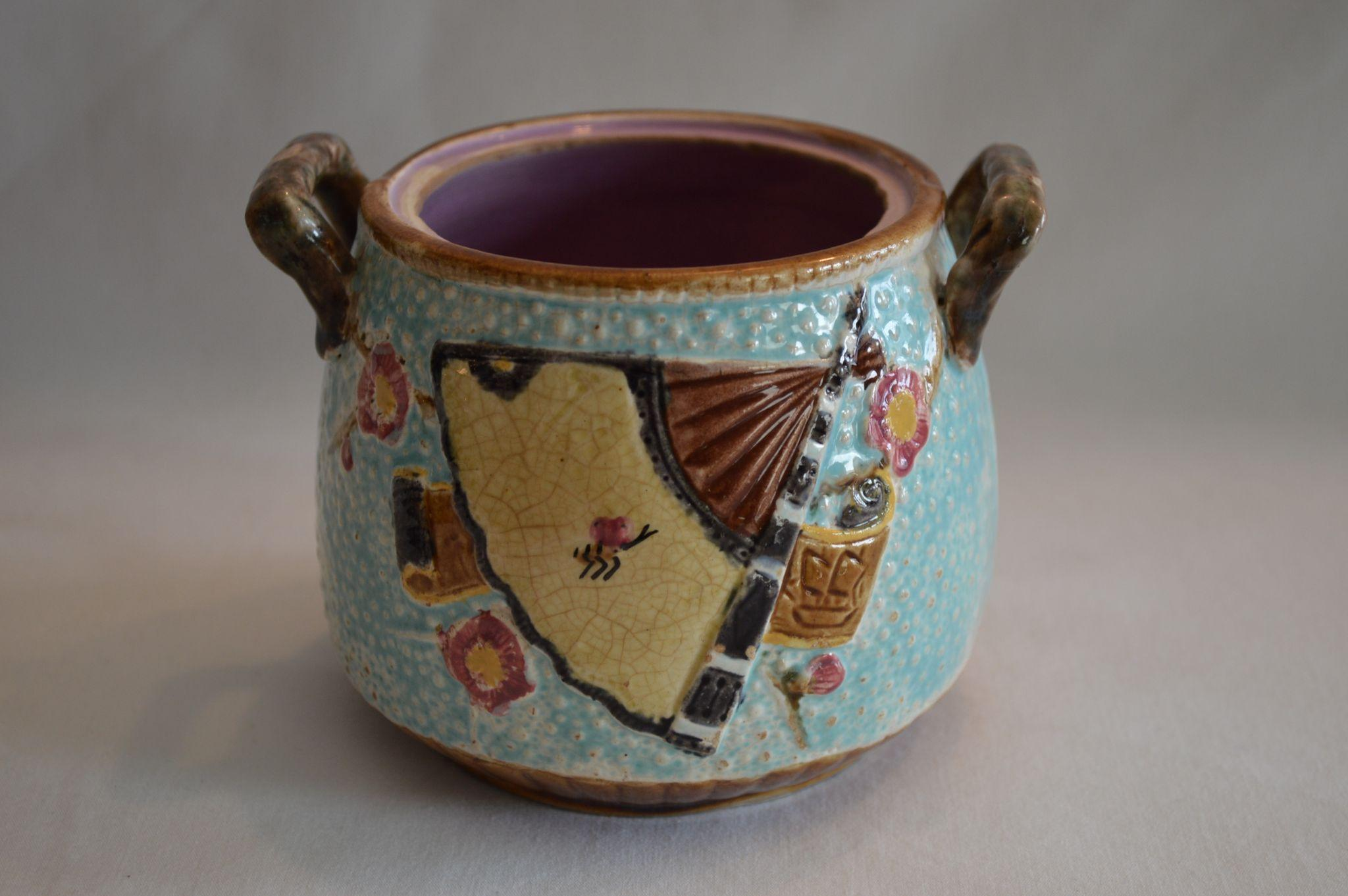Wonderful English Majolica Open Sugar Bowl ~ Turquoise with Fan, Crane, Scroll & Insect ~ attributed to S Fielding & CO Stoke on Trent Staffordshire England 1880